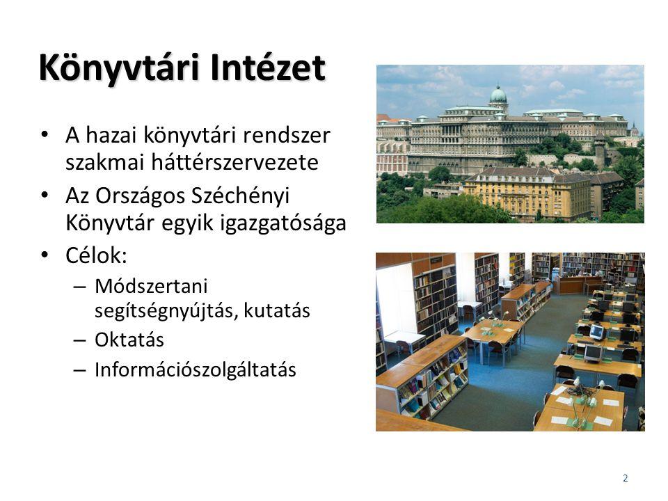 Könyvtári Intézet A hazai könyvtári rendszer szakmai háttérszervezete