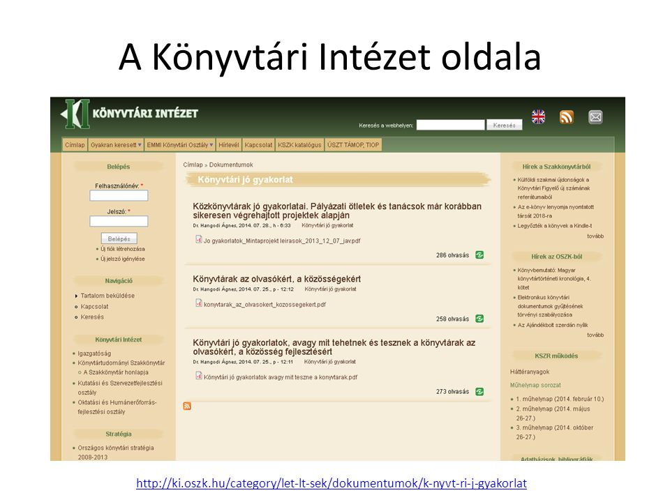 A Könyvtári Intézet oldala
