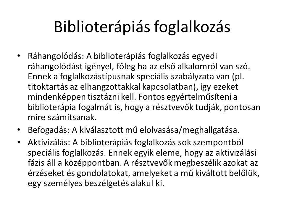 Biblioterápiás foglalkozás