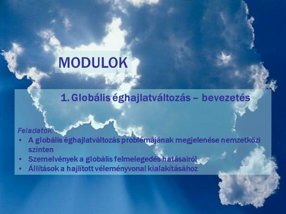MODULOK Globális éghajlatváltozás – bevezetés Feladatok: