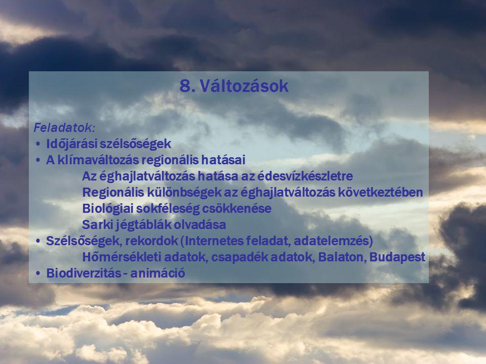 8. Változások Feladatok: Időjárási szélsőségek