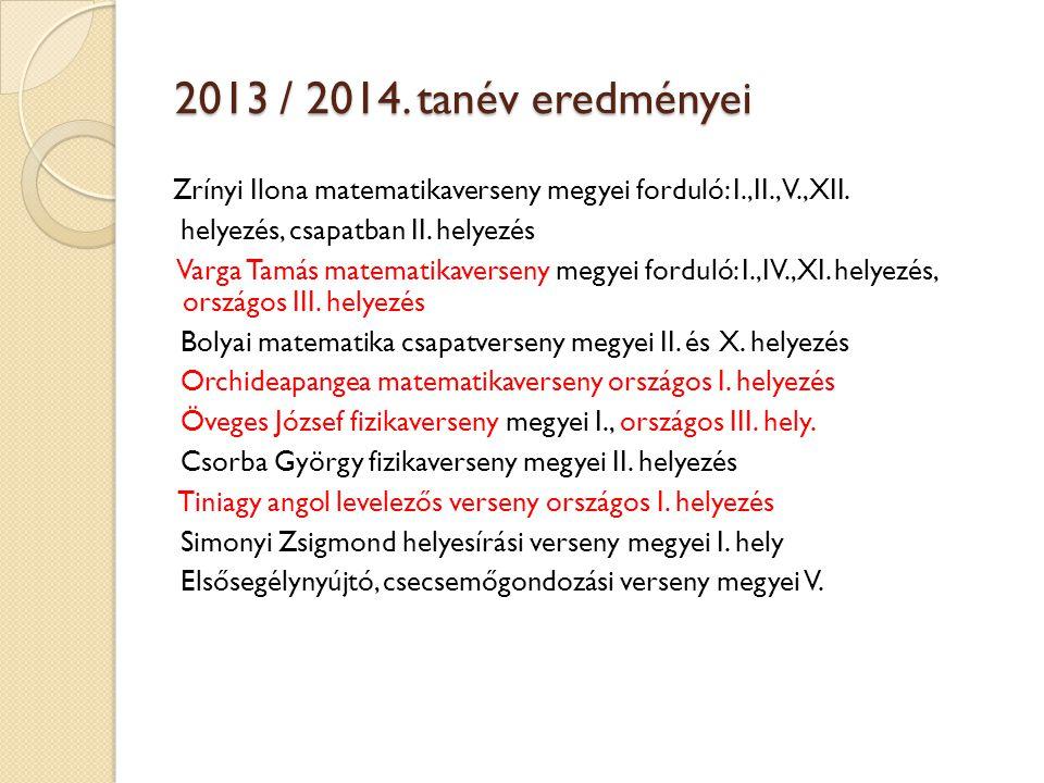 2013 / 2014. tanév eredményei helyezés, csapatban II. helyezés