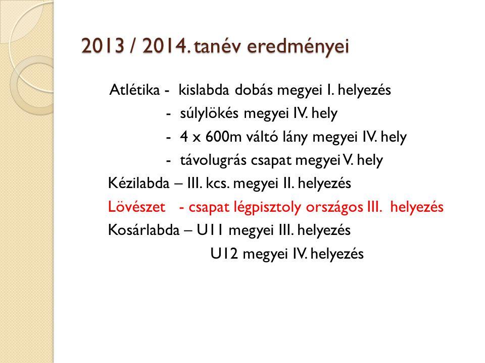 2013 / 2014. tanév eredményei - súlylökés megyei IV. hely