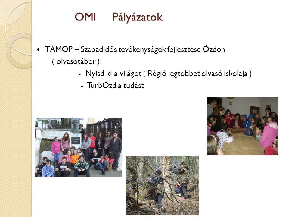 OMI Pályázatok TÁMOP – Szabadidős tevékenységek fejlesztése Ózdon