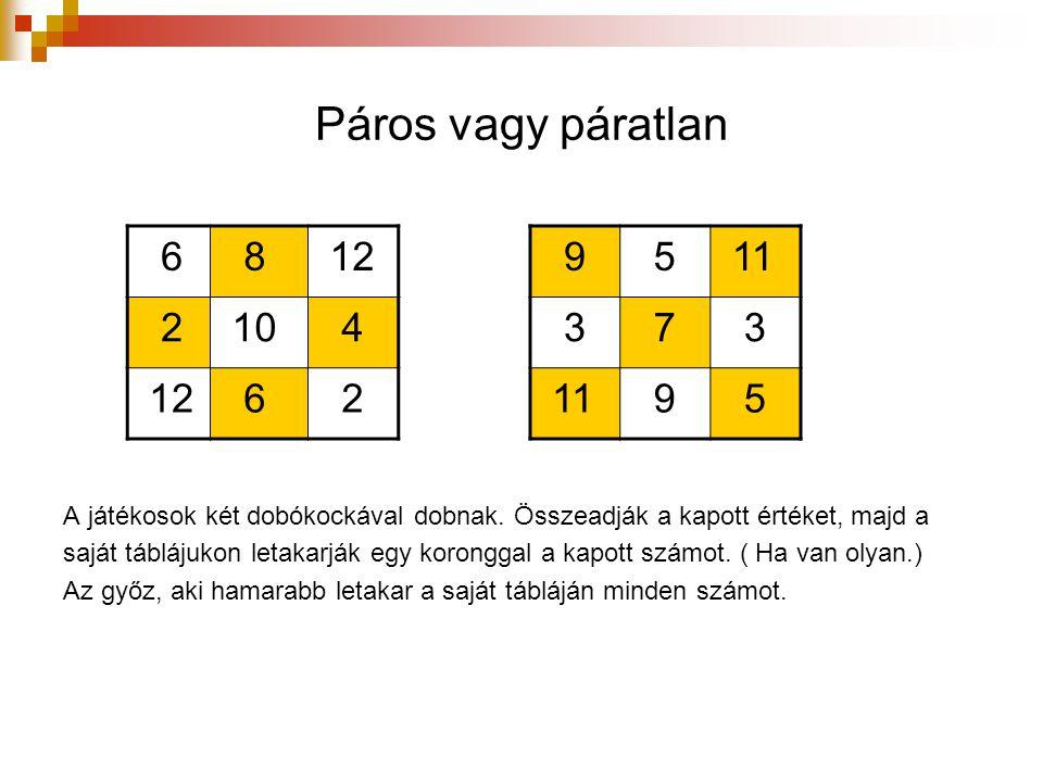 Páros vagy páratlan 6. 8. 12. 2. 10. 4. 9. 5. 11. 3. 7. A játékosok két dobókockával dobnak. Összeadják a kapott értéket, majd a.