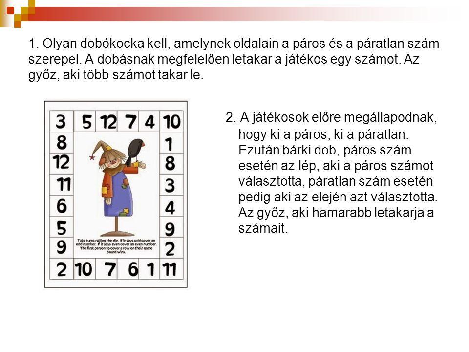 1. Olyan dobókocka kell, amelynek oldalain a páros és a páratlan szám szerepel. A dobásnak megfelelően letakar a játékos egy számot. Az győz, aki több számot takar le.