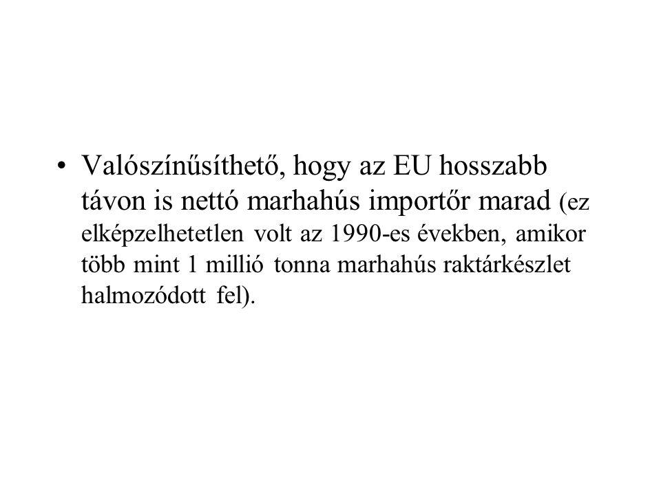 Valószínűsíthető, hogy az EU hosszabb távon is nettó marhahús importőr marad (ez elképzelhetetlen volt az 1990-es években, amikor több mint 1 millió tonna marhahús raktárkészlet halmozódott fel).