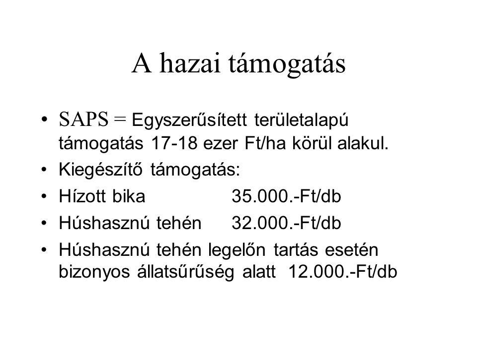A hazai támogatás SAPS = Egyszerűsített területalapú támogatás 17-18 ezer Ft/ha körül alakul. Kiegészítő támogatás: