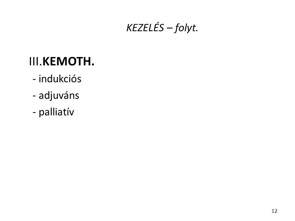 KEZELÉS – folyt. III.KEMOTH. - indukciós - adjuváns - palliatív