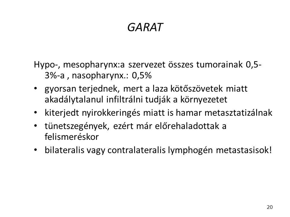 GARAT Hypo-, mesopharynx:a szervezet összes tumorainak 0,5-3%-a , nasopharynx.: 0,5%