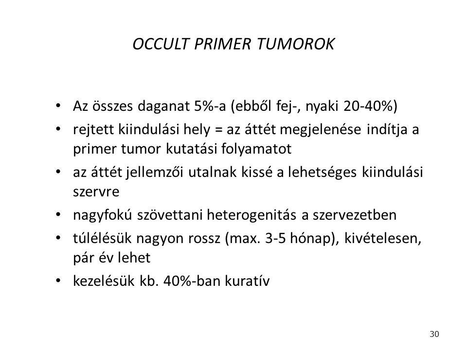 OCCULT PRIMER TUMOROK Az összes daganat 5%-a (ebből fej-, nyaki 20-40%)