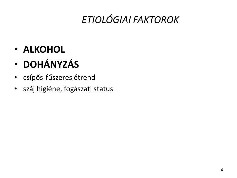 ETIOLÓGIAI FAKTOROK ALKOHOL DOHÁNYZÁS csípős-fűszeres étrend