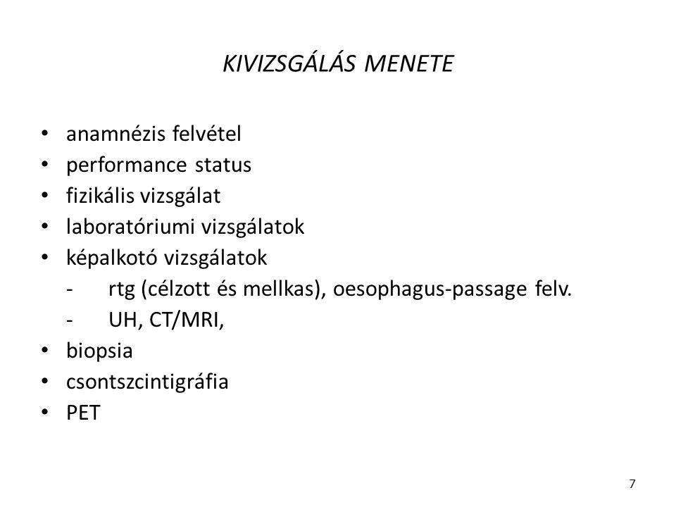 KIVIZSGÁLÁS MENETE anamnézis felvétel performance status
