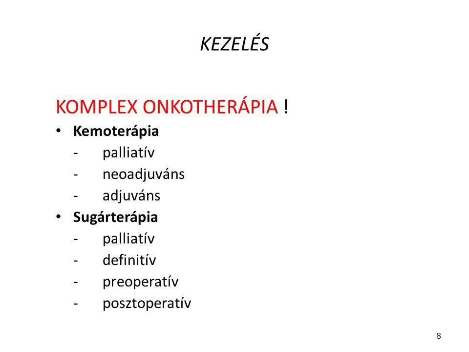 KEZELÉS KOMPLEX ONKOTHERÁPIA ! Kemoterápia - palliatív - neoadjuváns