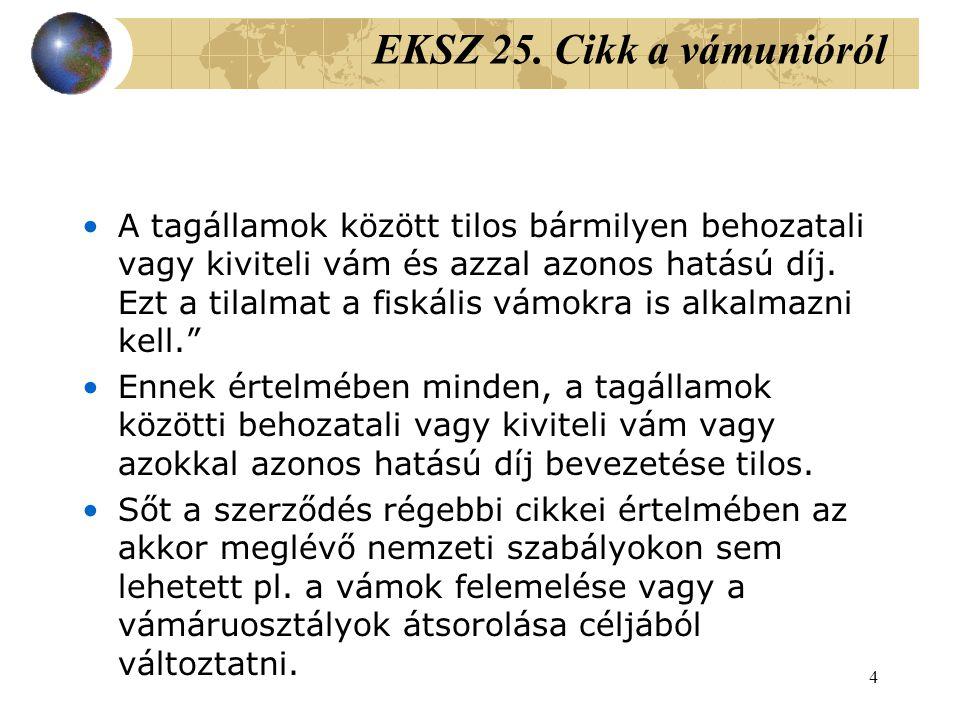 EKSZ 25. Cikk a vámunióról
