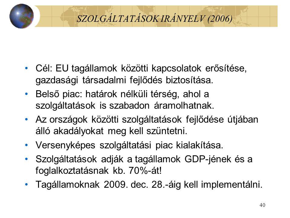SZOLGÁLTATÁSOK IRÁNYELV (2006)