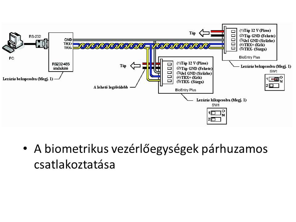 A biometrikus vezérlőegységek párhuzamos csatlakoztatása