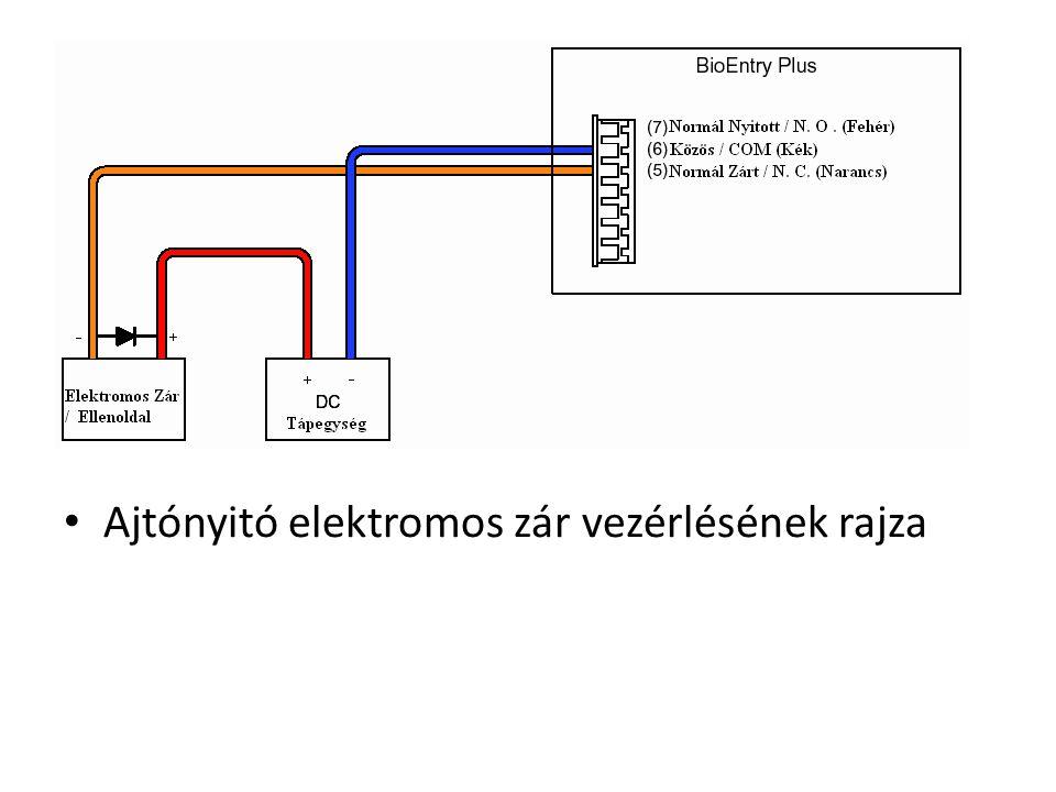 Ajtónyitó elektromos zár vezérlésének rajza