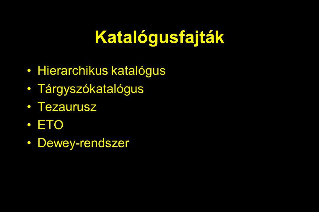 Katalógusfajták Hierarchikus katalógus Tárgyszókatalógus Tezaurusz ETO