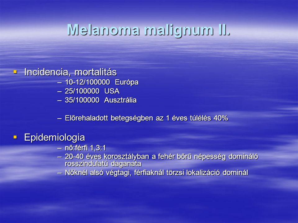 Melanoma malignum II. Incidencia, mortalitás Epidemiologia