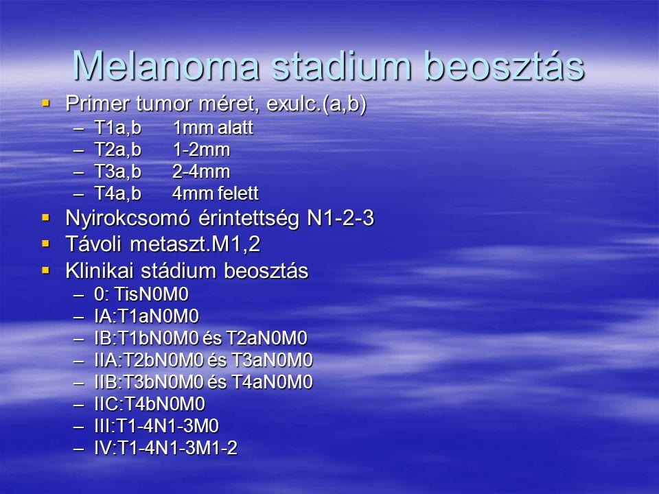 Melanoma stadium beosztás