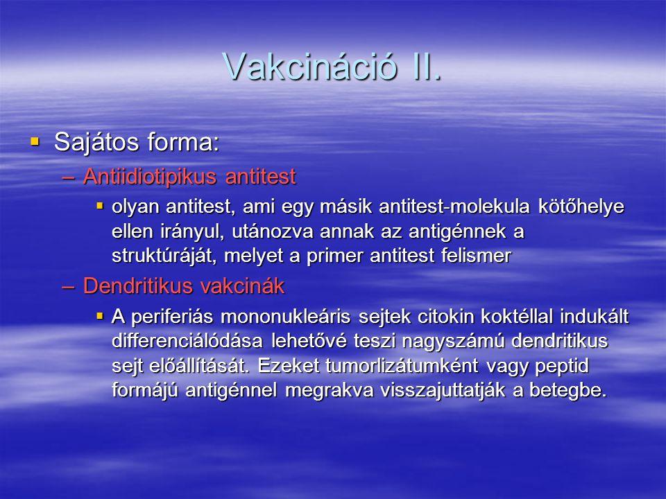 Vakcináció II. Sajátos forma: Antiidiotipikus antitest