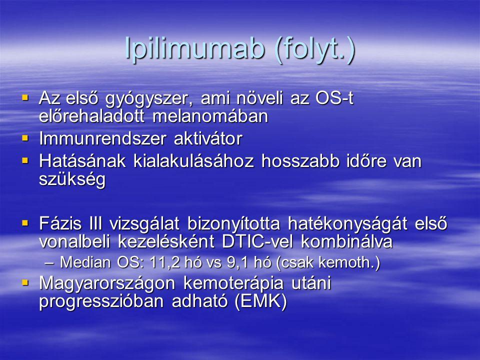 Ipilimumab (folyt.) Az első gyógyszer, ami növeli az OS-t előrehaladott melanomában. Immunrendszer aktivátor.