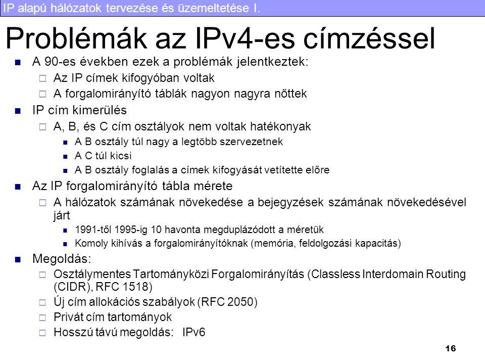 Problémák az IPv4-es címzéssel