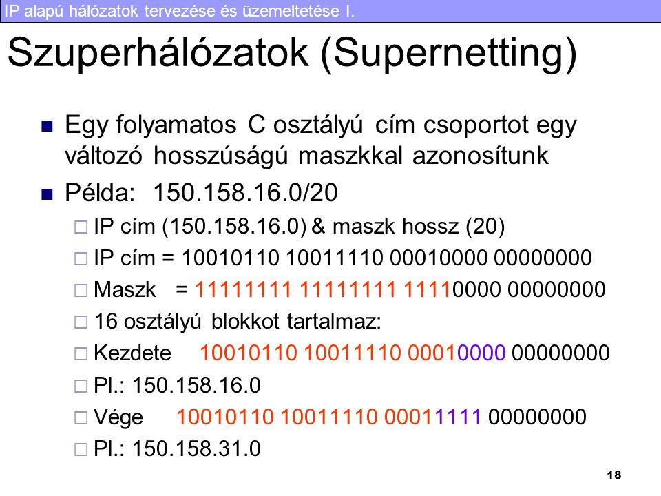 Szuperhálózatok (Supernetting)