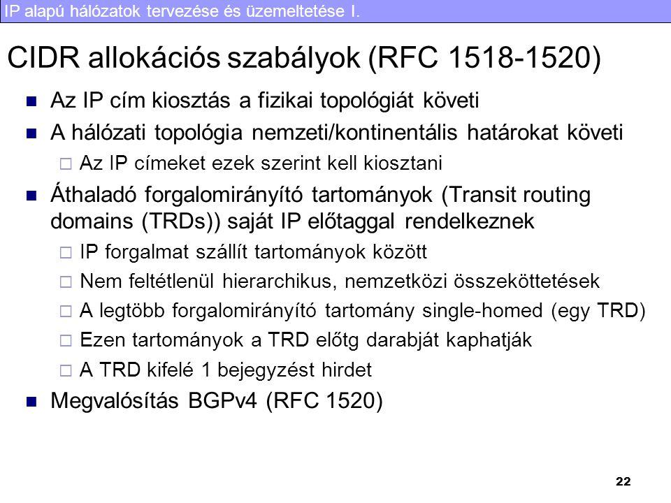 CIDR allokációs szabályok (RFC 1518-1520)