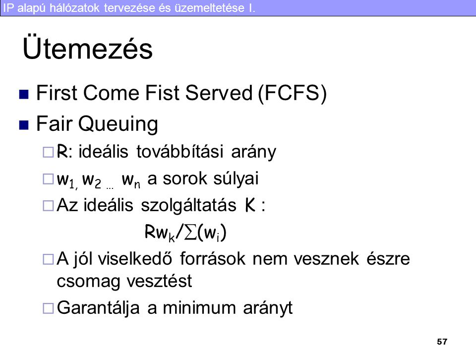 Ütemezés First Come Fist Served (FCFS) Fair Queuing