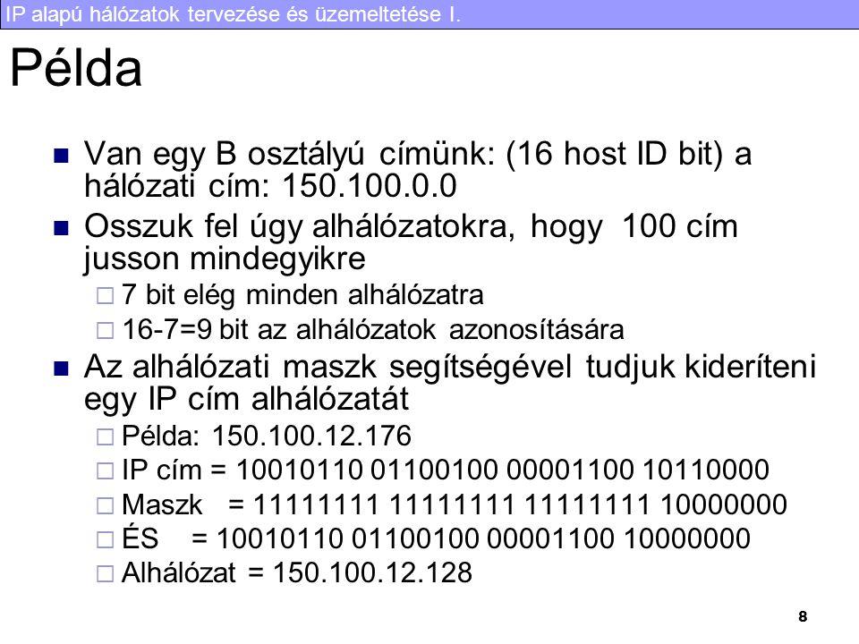 Példa Van egy B osztályú címünk: (16 host ID bit) a hálózati cím: 150.100.0.0. Osszuk fel úgy alhálózatokra, hogy 100 cím jusson mindegyikre.