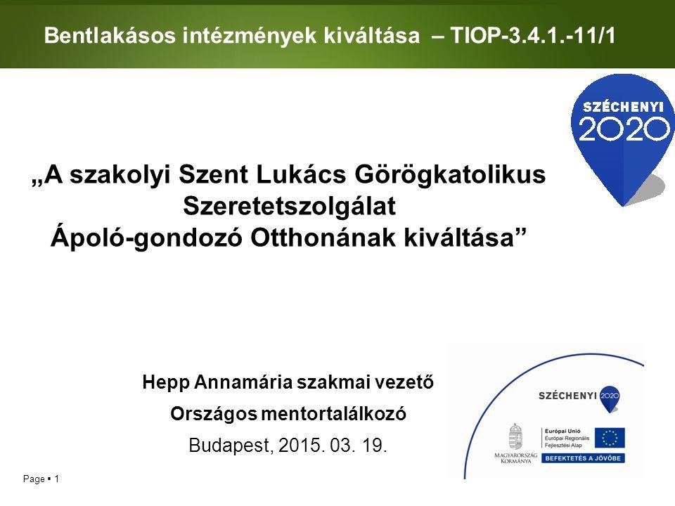 Bentlakásos intézmények kiváltása – TIOP-3.4.1.-11/1