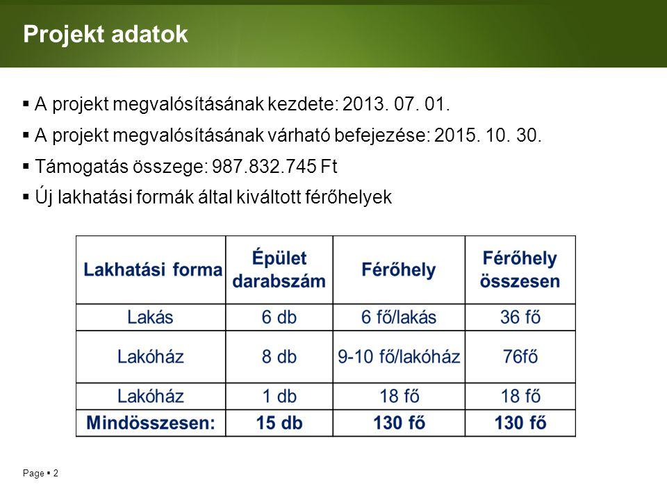 Projekt adatok A projekt megvalósításának kezdete: 2013. 07. 01.