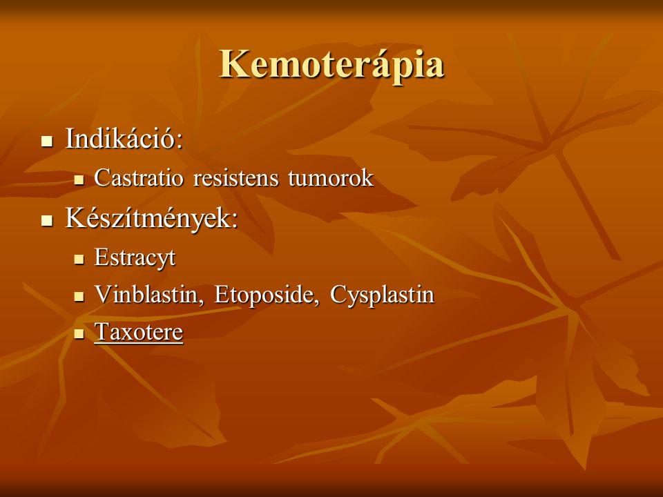 Kemoterápia Indikáció: Készítmények: Castratio resistens tumorok