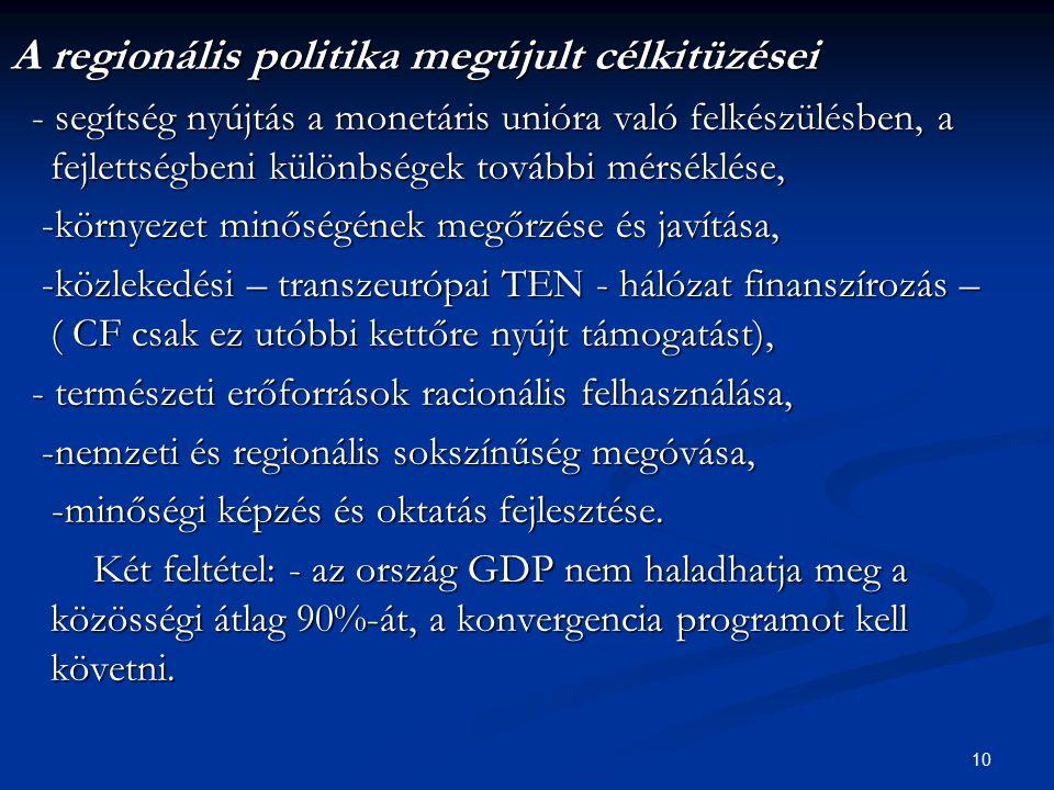A regionális politika megújult célkitüzései