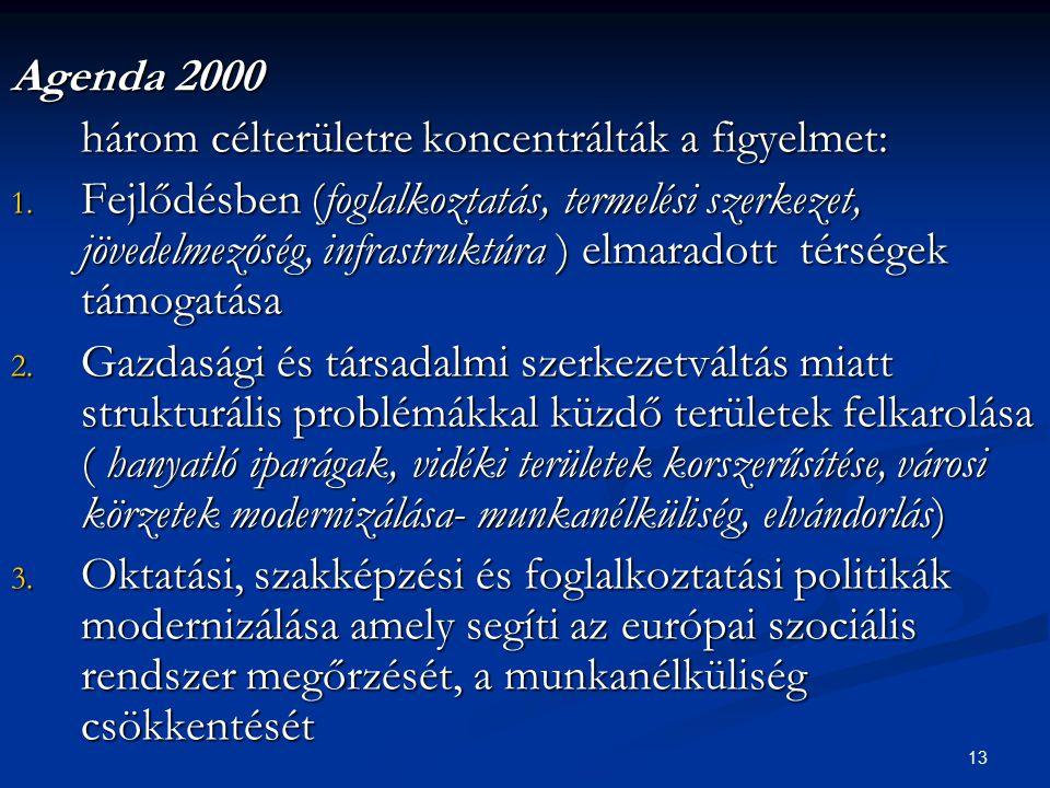 Agenda 2000 három célterületre koncentrálták a figyelmet: