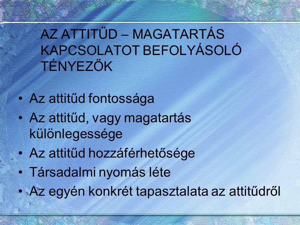 AZ ATTITŰD – MAGATARTÁS KAPCSOLATOT BEFOLYÁSOLÓ TÉNYEZŐK