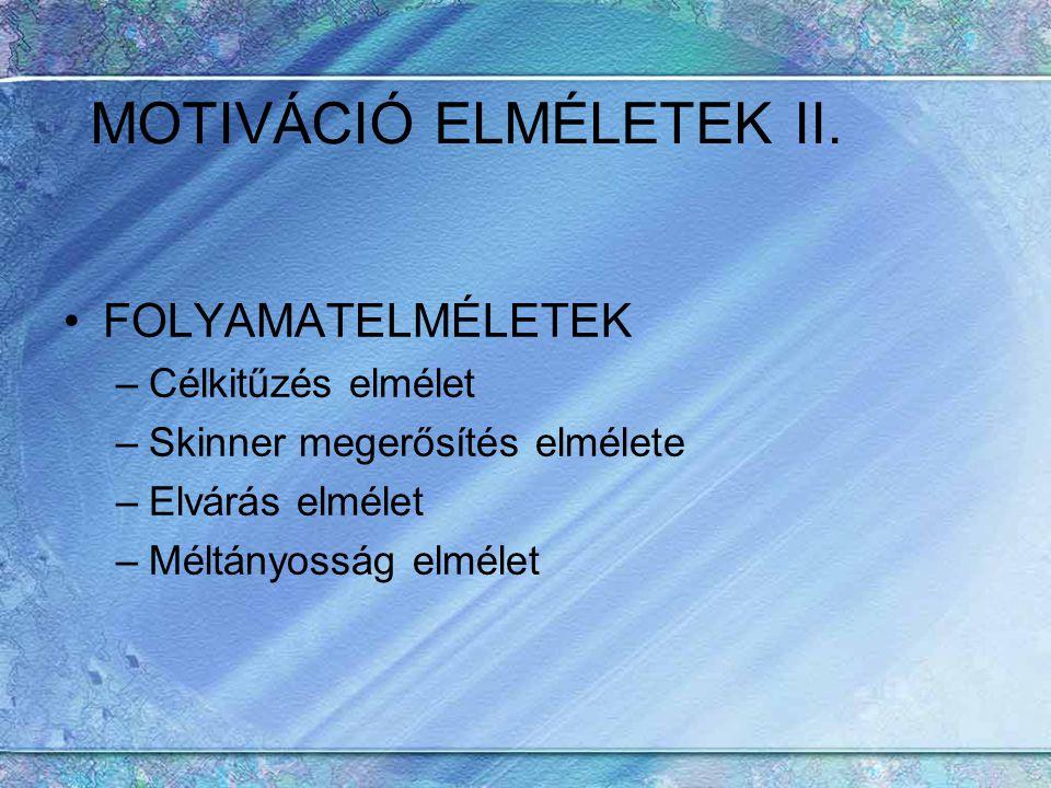 MOTIVÁCIÓ ELMÉLETEK II.