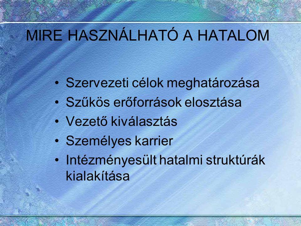 MIRE HASZNÁLHATÓ A HATALOM