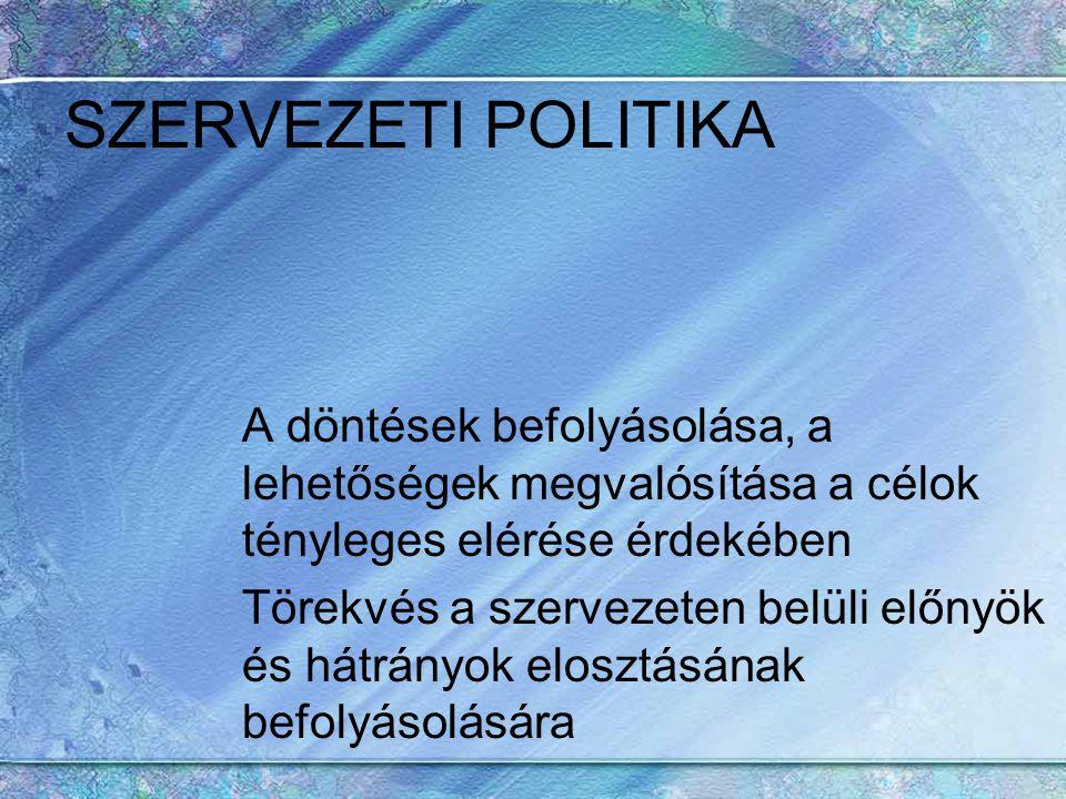 SZERVEZETI POLITIKA A döntések befolyásolása, a lehetőségek megvalósítása a célok tényleges elérése érdekében.