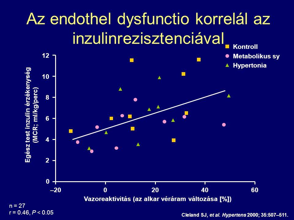 Az endothel dysfunctio korrelál az inzulinrezisztenciával