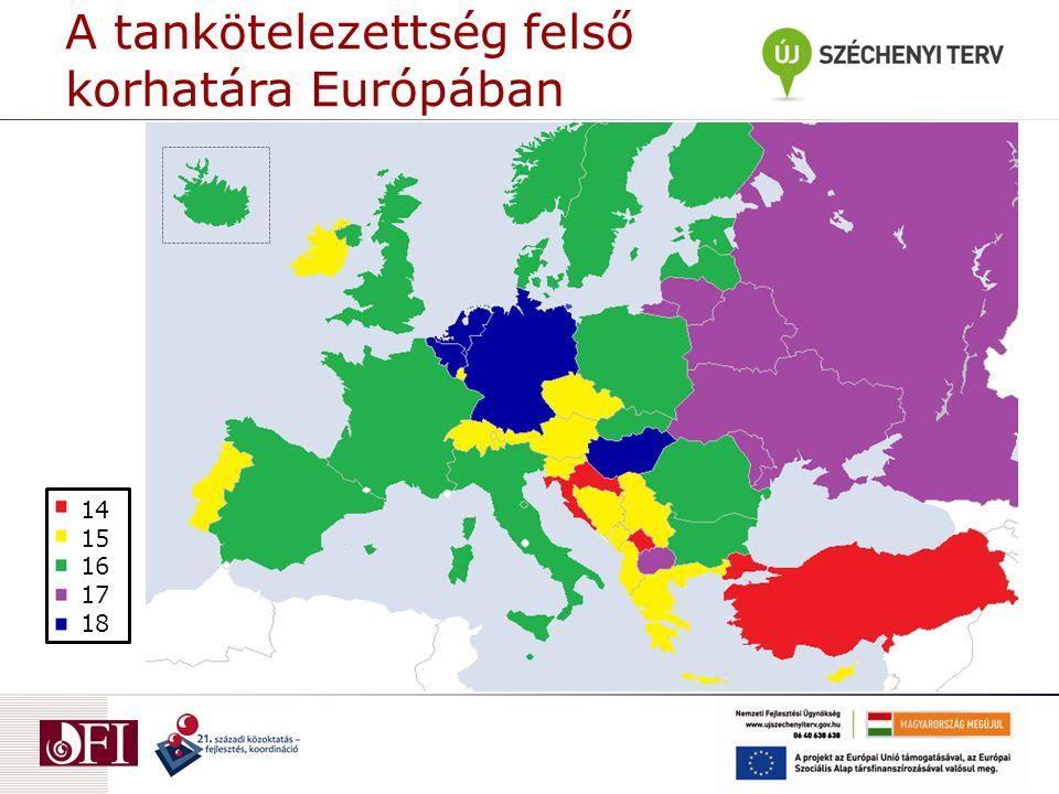 A tankötelezettség felső korhatára Európában