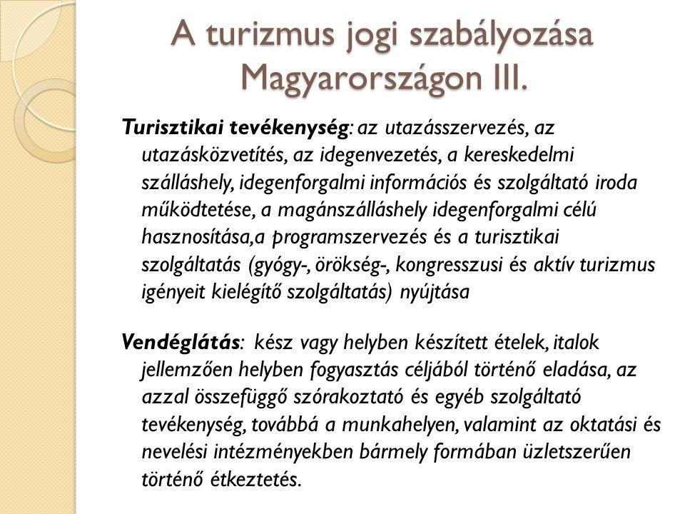 A turizmus jogi szabályozása Magyarországon III.