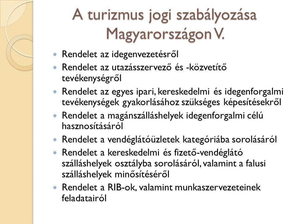 A turizmus jogi szabályozása Magyarországon V.