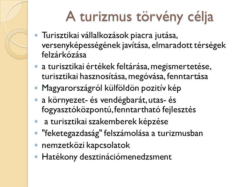 A turizmus törvény célja