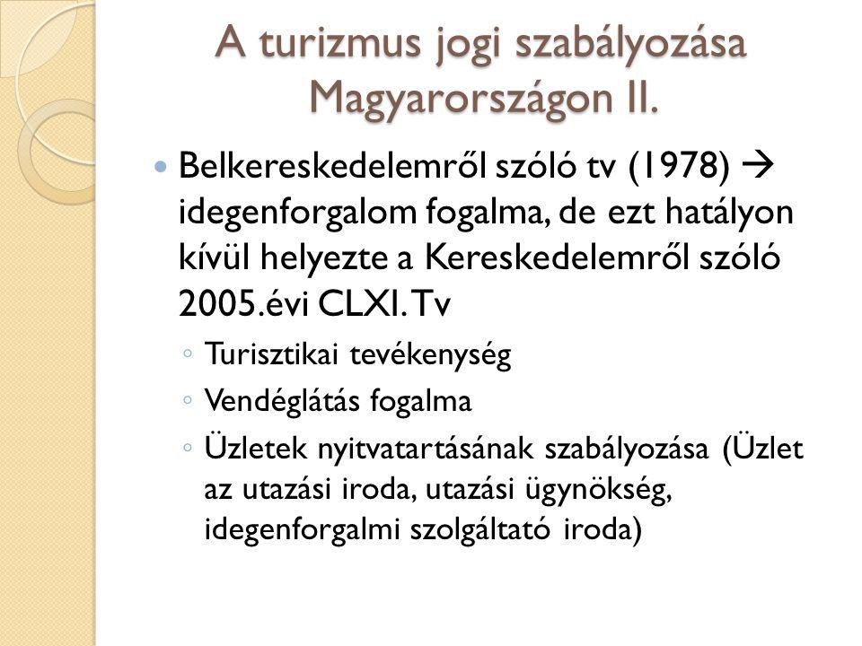 A turizmus jogi szabályozása Magyarországon II.