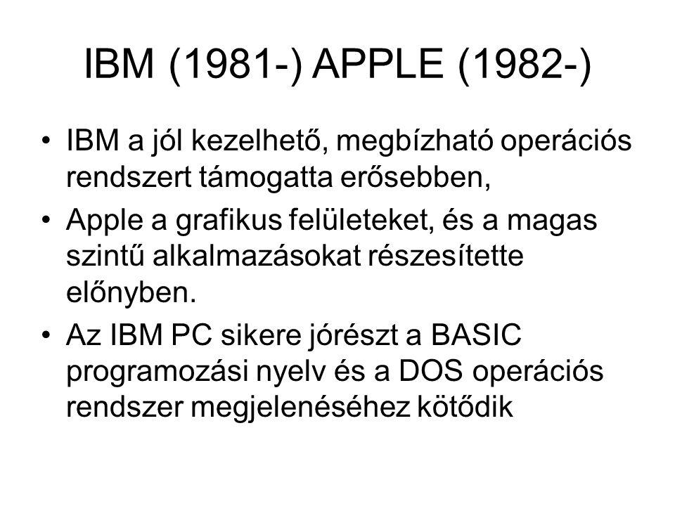 IBM (1981-) APPLE (1982-) IBM a jól kezelhető, megbízható operációs rendszert támogatta erősebben,