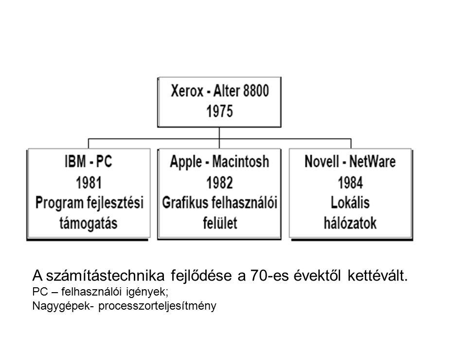 A számítástechnika fejlődése a 70-es évektől kettévált