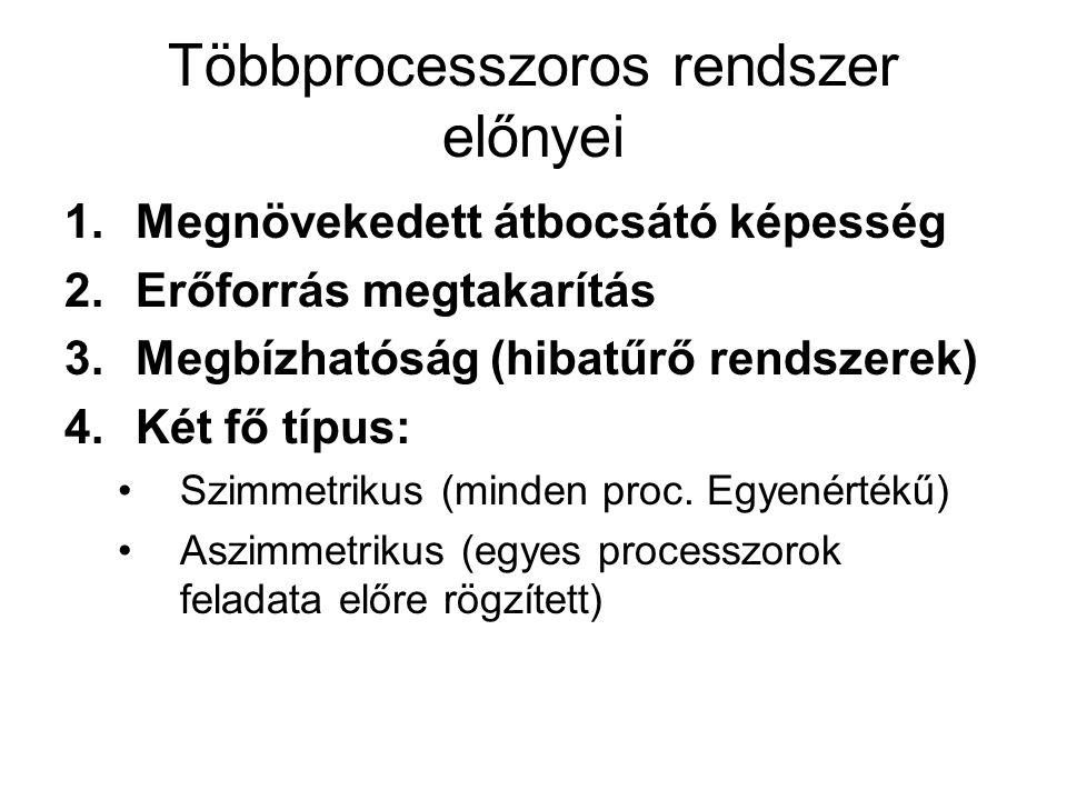 Többprocesszoros rendszer előnyei
